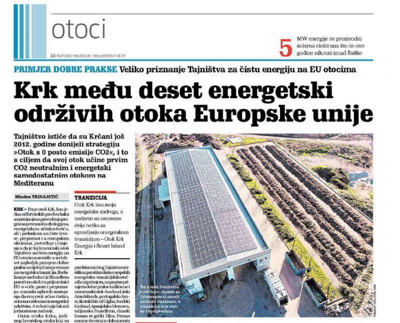 Krk među deset energetski održivih otoka Europske unije