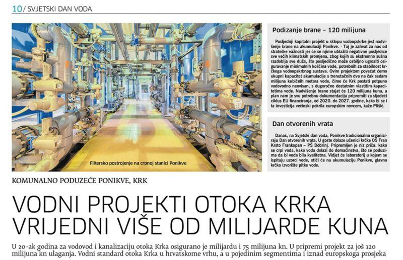 Vodni projekti otoka Krka vrijedni više od milijarde kuna